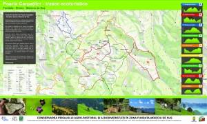 Harta zonei - Trasee Ecoturistice în zona Moieciu de Sus - Fundata